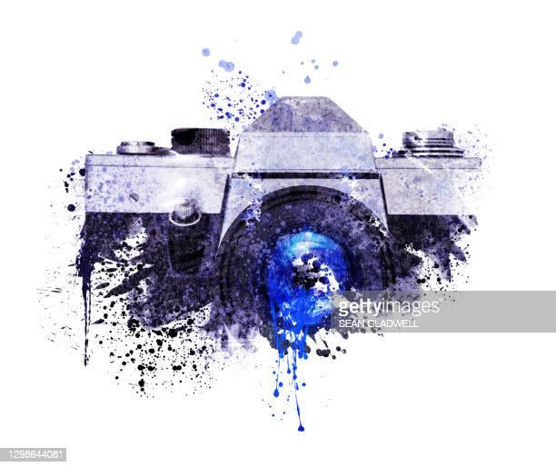 camera illustration - pinselstrich optik stock-fotos und bilder