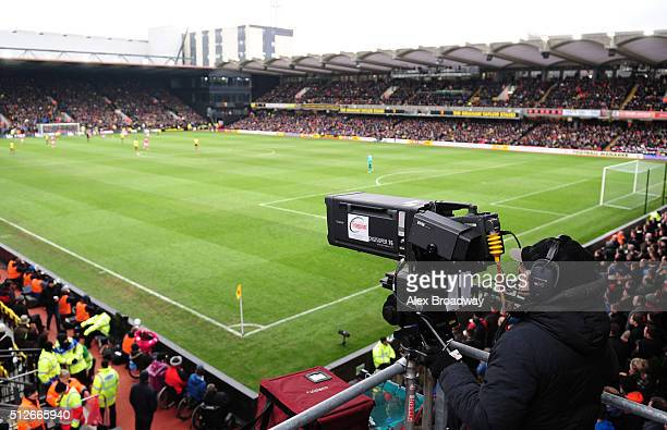 TV camera in situ during the Barclays Premier League match between Watford and AFC Bournemouth at Vicarage Road on February 27 2016 in Watford England