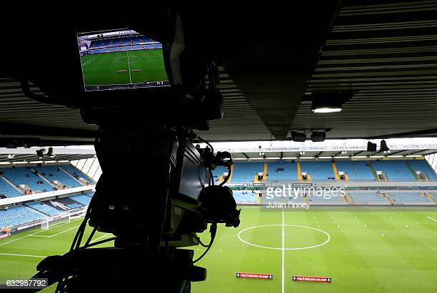 TV camera is seen inside the stadium prior to The Emirates FA Cup Fourth Round match between Millwall and Watford at The Den on January 29 2017 in...