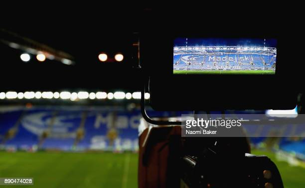 TV camera is set up prior to the Sky Bet Championship match between Reading and Cardiff City at Madejski Stadium on December 11 2017 in Reading...