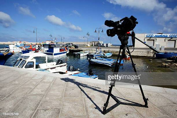 A TV camera is setup on the port in Fasano in the southern Italian region of Puglia near the Bagno Egnazia resort where actors Justin Timberlake and...