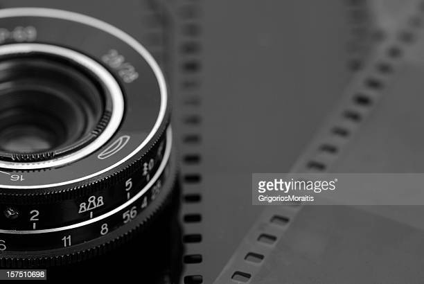 Camera Lens and Film B&W Abstract