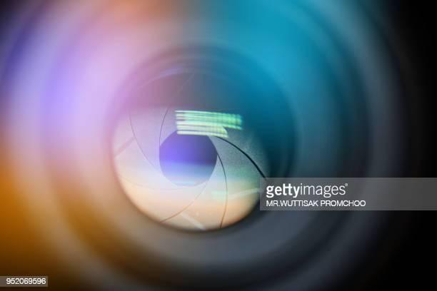 camera lens.digital camera lens close up. - lens eye stock photos and pictures