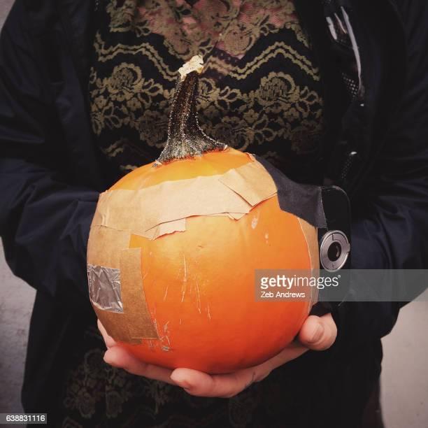 A camera made from a pumpkin