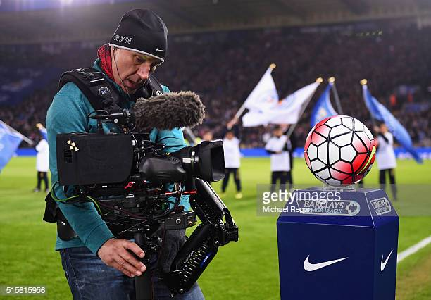 A camera man films prior to the Barclays Premier League match between Leicester City and Newcastle United at The King Power Stadium on March 14 2016...