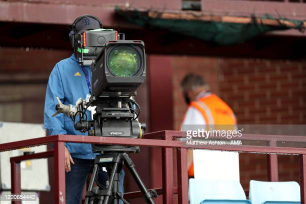 Camera man for Sky Sports is seen social distancing in a stand during the Premier League match between Aston Villa and Sheffield United at Villa Park...