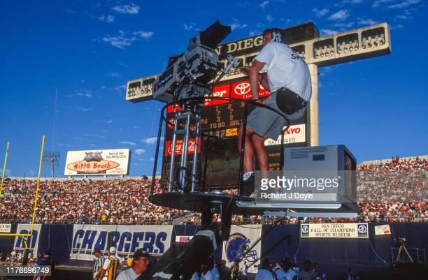TNT TV camera man San Francisco 49ers 17 vs San Diego Chargers 6 at Jack Murphy Stadium in San Diego California
