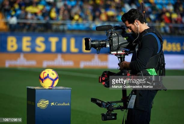 A camera man waits for the teams to walk out prior to the La Liga match between Villarreal CF and Athletic Club at Estadio de la Ceramica on January...
