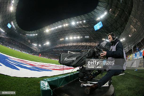 A camera of Canal during the French Ligue 1 between Olympique de Marseille and Paris SaintGermain at Stade Velodrome on february 7 2016 in Marseille...
