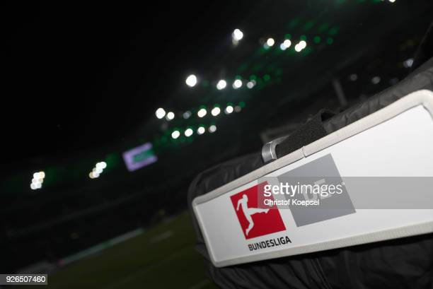 A camera of the DFL is seen prior to the Bundesliga match between Borussia Moenchengladbach and SV Werder Bremen at BorussiaPark on March 2 2018 in...