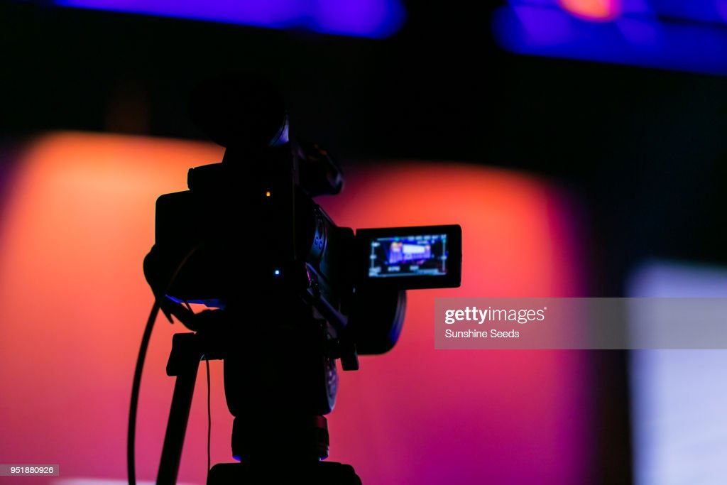 TV Camera on a live film set : Stock Photo