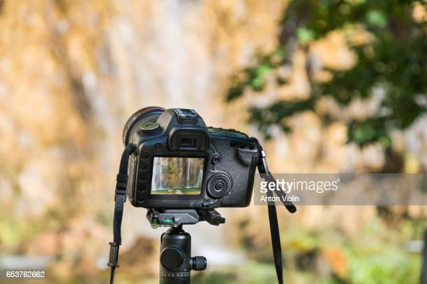 DSLR camera on tripod outdoors