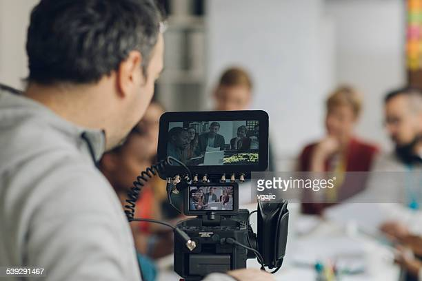 camera operator at work. - cinematographer stock pictures, royalty-free photos & images