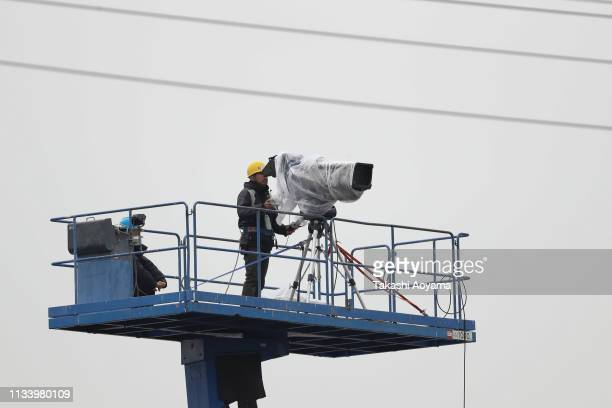 TV camera operator is seen in front of the Tokyo Detention House on March 06 2019 in Tokyo Japan Carlos Ghosn was released from the Tokyo Detention...