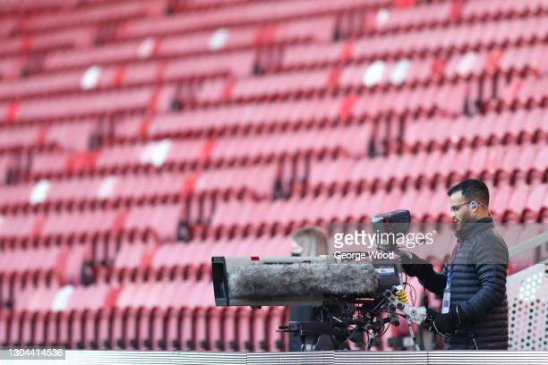 Camera operator is seen inside the stadium during the Sky Bet Championship match between Middlesbrough and Cardiff City at Riverside Stadium on...