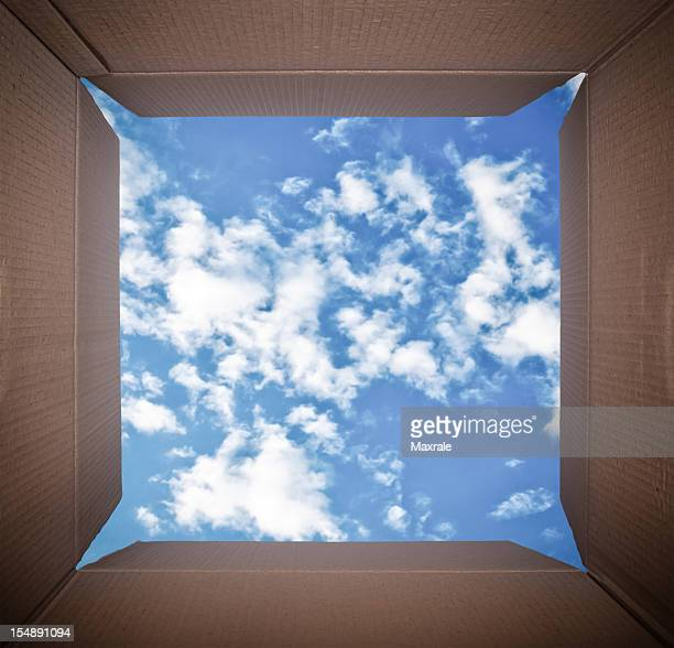 Camera Perspective inside cardboard box looking at blue sky