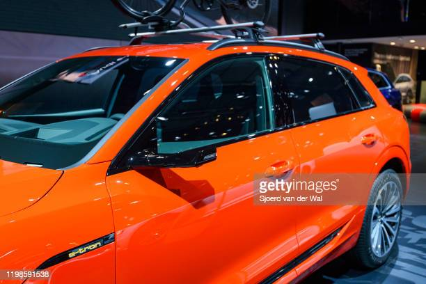 Camera rear view mirror on an Audi etron 55 Quattro full electric luxury crossover SUV car on display at Brussels Expo on JANUARY 09 2020 in Brussels...
