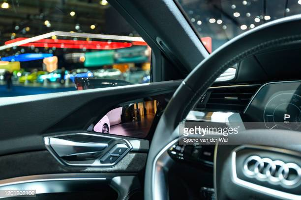 Camera rear view mirror on an Audi etron 55 Quattro full electric luxury crossover SUV car on display at Brussels Expo on January 9 2020 in Brussels...