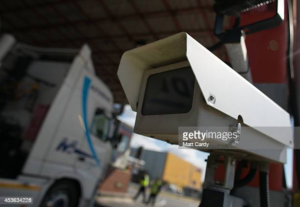CCTV camera records as Border Force staff check lorries and trucks arriving at the UK border as they leave a crosschannel ferry that has just arrived...