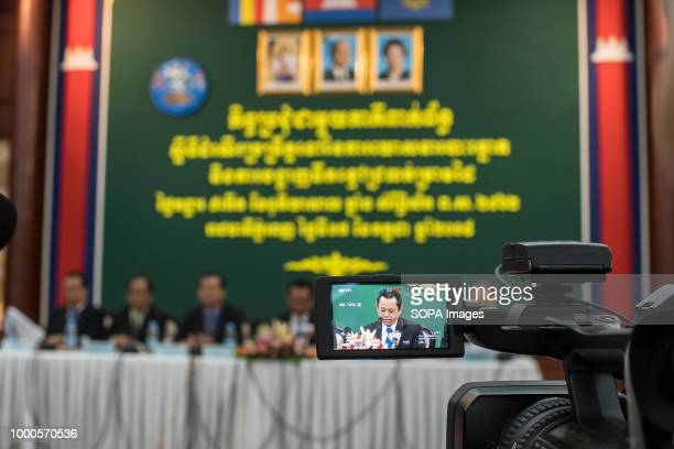 A camera seen broadcasting the event where the new indelible ink is being presented and will be used on the election day to mark the voter's finnger...