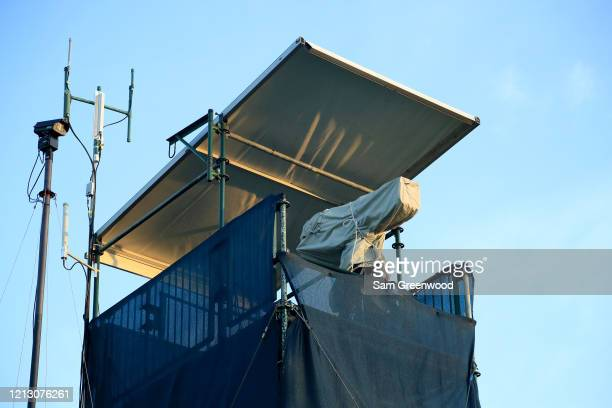 Camera sits covered after the cancellation of the The PLAYERS Championship and three consecutive events due to the COVID-19 pandemic as seen at the...