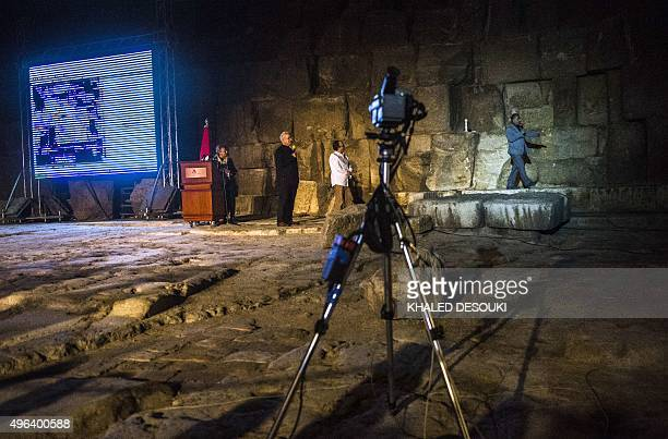 A camera stands in front of the great pyramid of Khufu in Giza on the outskirts of Cairo during an infrared thermography experiment to map out the...