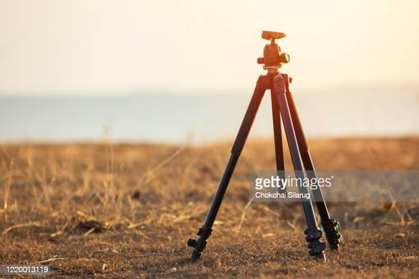 camera tripod and sunset nature - 三脚 ストックフォトと画像