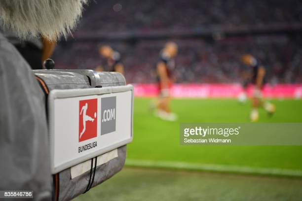 TV camera with the new Bundesliga logo is seen prior to the Bundesliga match between FC Bayern Muenchen and Bayer 04 Leverkusen at Allianz Arena on...
