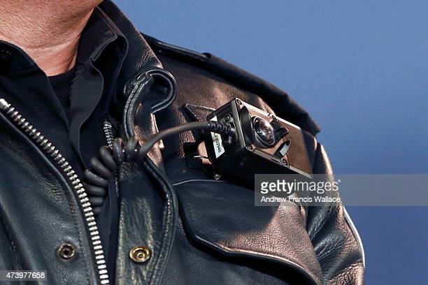TORONTO ON MAY 15 camera wore by police officer during a press conference introducing new bodyworn police video cameras May 15 2015 Toronto police...