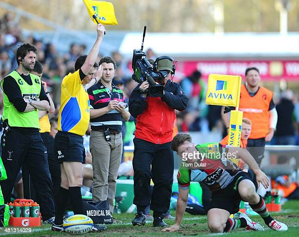 A cameraman captures the action during the Aviva Premiership match between Harlequins and London Irish at Twickenham Stoop on March 29 2014 in London...