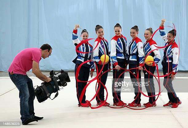 TV cameraman films the Great Britain Rhythmic Gymnastics Team Louisa Pouli Lynne Hutchison Rachel Smith Georgina Cassar Frankie Fox and Jade Faulkner...