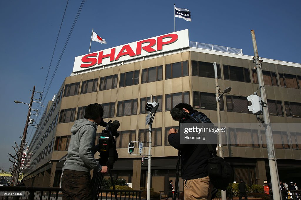 Sharp Corp. Headquarters As Foxconn Chairman Terry Gou Said To Plan Appeal On Deal : News Photo