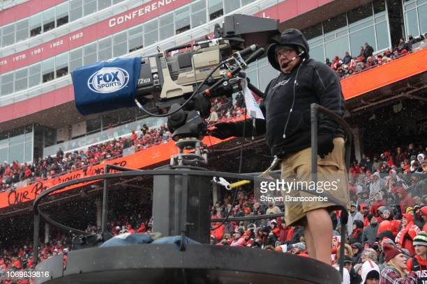 A cameraman for Fox Sports works the game between the Nebraska Cornhuskers and the Michigan State Spartans at Memorial Stadium on November 17 2018 in...