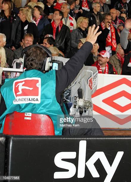 A cameraman is seen during the Second Bundesliga match between FC Energie Cottbus and Karlsruher SC at Stadion der Freundschaft on September 13 2010...