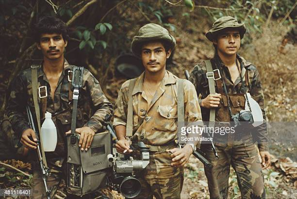 Cameraman Marlon Ortega with soldiers of the Sandinista Popular Army Nicaragua 1987