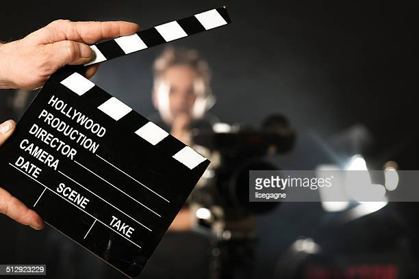 cameraman on set - clapboard stock pictures, royalty-free photos & images