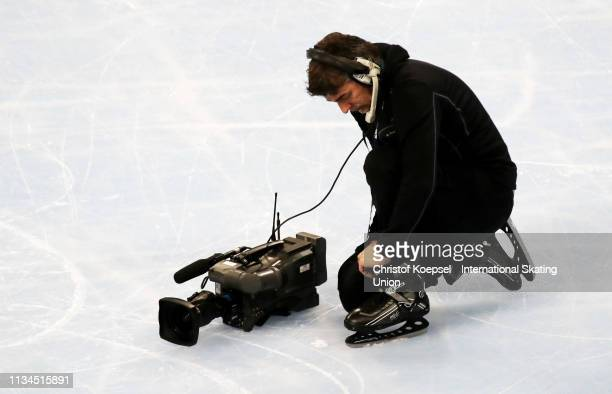 A cameraman on the ice during the ISU World Short Track Speed Skating Championships Day 1 at Armeec Arena on March 08 2019 in Sofia Bulgaria Photo by...
