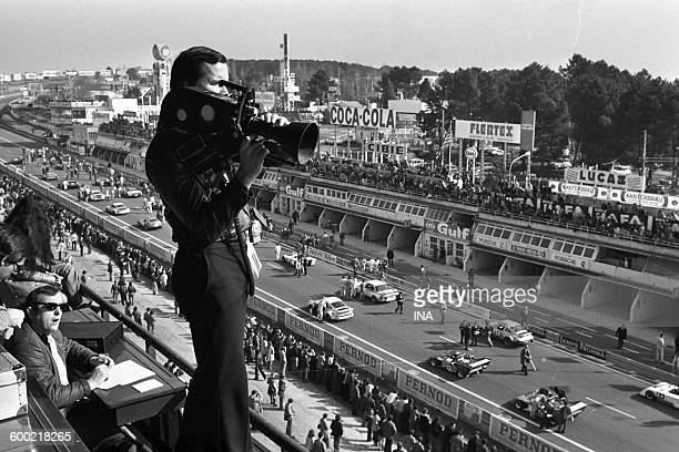 Cameraman on the way out Le Mans 24-hour rally.