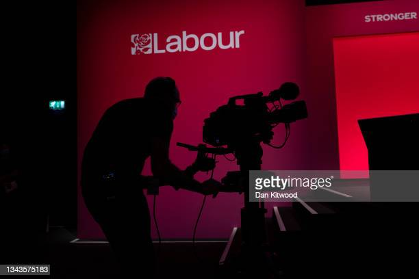 Cameraman operates in the main hall on September 28, 2021 in Brighton, England. Labour return to Brighton for their in-person 2021 conference from...