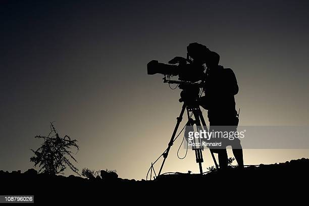 TV cameraman pictured during the first round of the Commercialbank Qatar Masters at the Doha Golf Club on February 3 2011 in Doha Qatar