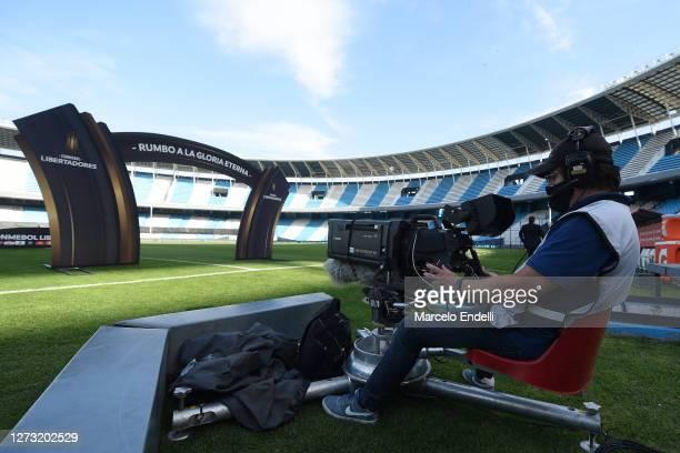 Cameraman works before a group F match of Copa CONMEBOL Libertadores 2020 between Racing and Nacional at Juan Domingo Peron Stadium on September 17...