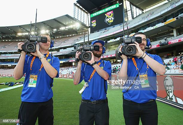 TV cameramen during game two of the International Twenty20 Series between Australia and South Africa at Melbourne Cricket Ground on November 7 2014...