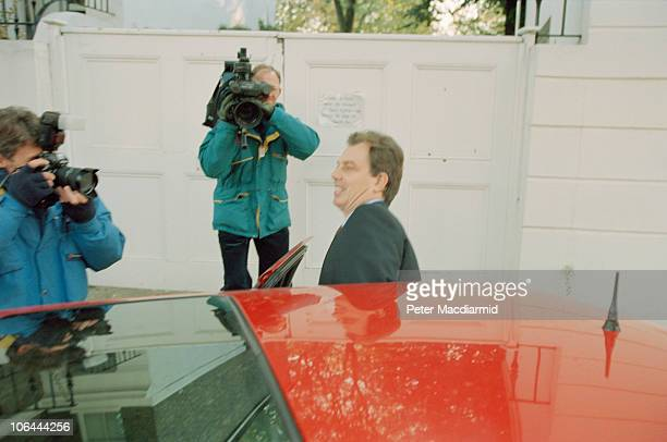 TV cameramen filming British Labour Party leader Tony Blair outside his home in Islington London 18th October 1994