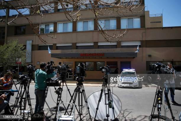 Cameramen work outside Sanatorio Ipensa where Maradona remains hospitalized on November 03, 2020 in La Plata, Argentina. Maradona arrived to the...