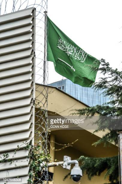 Cameras and a Saudi Arabian flag are seen on Police fence during a demonstration in front of the Saudi Arabian consulate on October 8, 2018 in...