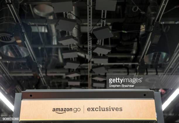 Cameras and sensors to tack shoppers purchases line the ceiling in the Amazon Go January 22 2018 in Seattle Washington After more than a year in beta...