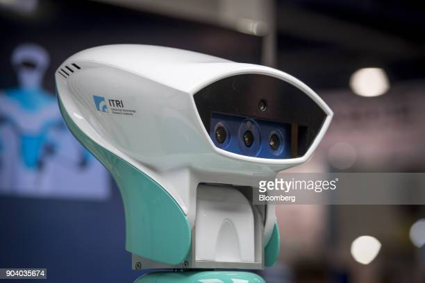 Cameras are seen inside an Industrial Technology Research Institute Intelligent Vision System companion robot during the 2018 Consumer Electronics...
