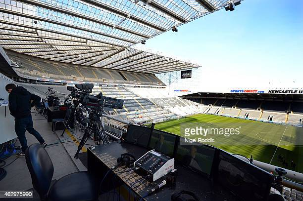 TV cameras at St James' Park ahead of the Barclays Premier League match between Newcastle United and Stoke City at St James' Park on February 8 2015...