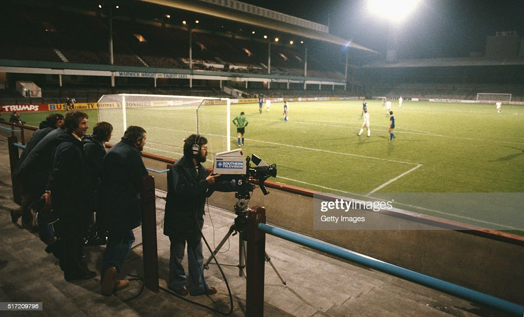TV Cameras film from an empty terrace during the European Cup Winners 1st round, 2nd leg match between West Ham and Castillas at Upton Park on October1 , 1980, West Ham were ordered to play the match after crowd trouble during the first leg at least 300 kilometres (190 mi) from Upton Park, After an appeal they were allowed to play at home resulting in the playing of 'the Ghost Match' behind closed doors with an official attendance of 262 given.