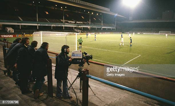 Cameras film from an empty terrace during the European Cup Winners 1st round 2nd leg match between West Ham and Castillas at Upton Park on October1...